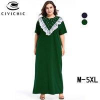 CIVI CHIC Zomer Jurk Dames Elegant Plus Size Robe Femme Lace Ruffles Stitch Maxi Dress Beaded Party Long Vestidos De Gala DRS182
