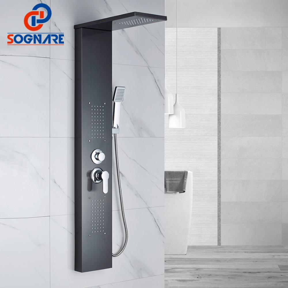 SOGNARE Shower Wall Panels Oil Rubbed Bronze Rain Waterfall Shower Panel Wall Mount Massage System Handshower