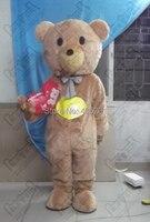 De alta calidad de piel de oso de peluche mascota de disfraces de dibujos animados cuidado del bebé trajes trajes de la mascota de peluche marrón