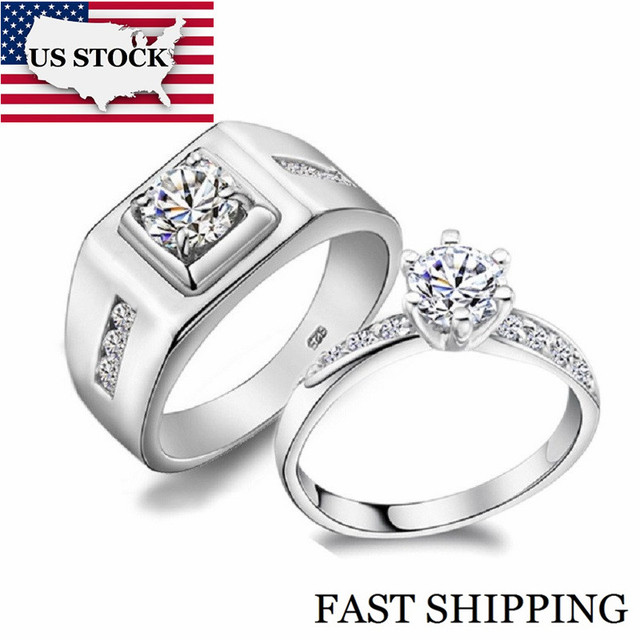 US STOCK 50% off A Pair Wedding Couple Rings for Men and Women Silver Color Engagement Ring for Love Jewelry Uloveido J473