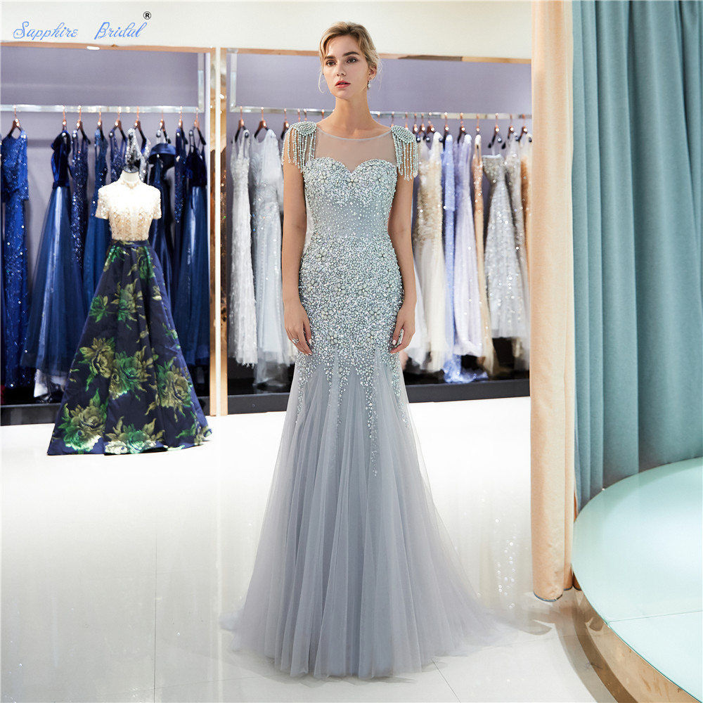 Sapphire Bridal Sparkly Huge Beads Women's Long Party Gown Top Quality Mermaid Gold Silver Grey Sexy Tassel Formal   Evening     Dress