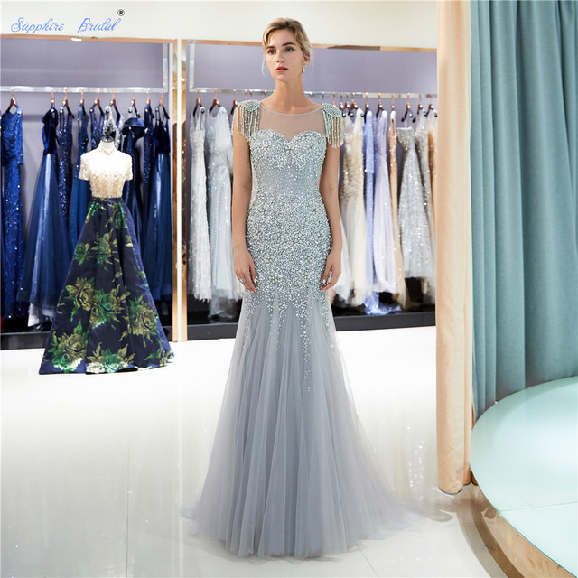 6b4d1f56315 Sapphire Bridal Sparkly Huge Beads Women s Long Party Gown Top Quality Mermaid  Gold Silver Grey Sexy Tassel Formal Evening Dress