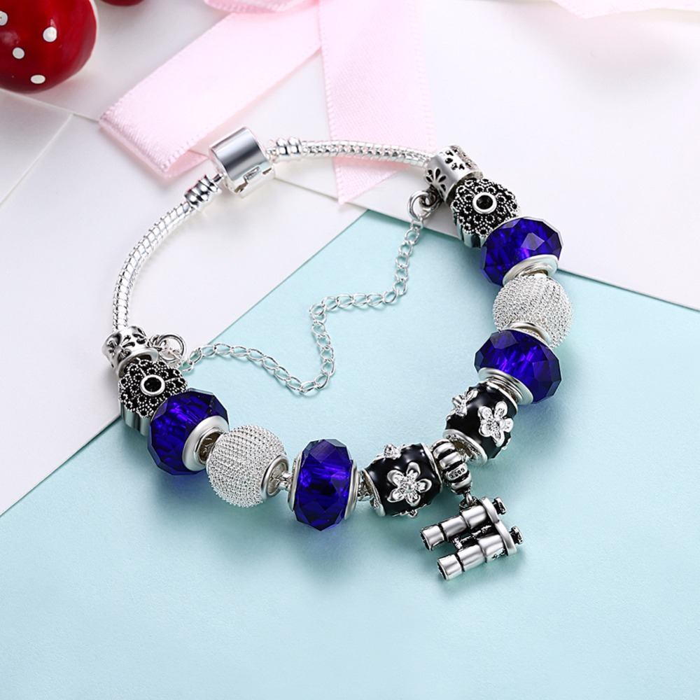 HERMOSA jewelry New Lovely Fashion shape Bead DIY Removable plating silver woman Bracelet 20cm PDRH056