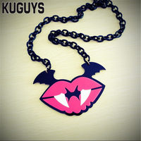 KUGUYS Fashion Jewelry Custom Women Acrylic Devil Mouth Pendant Necklace Sweater Link Chain Trendy Bat Long