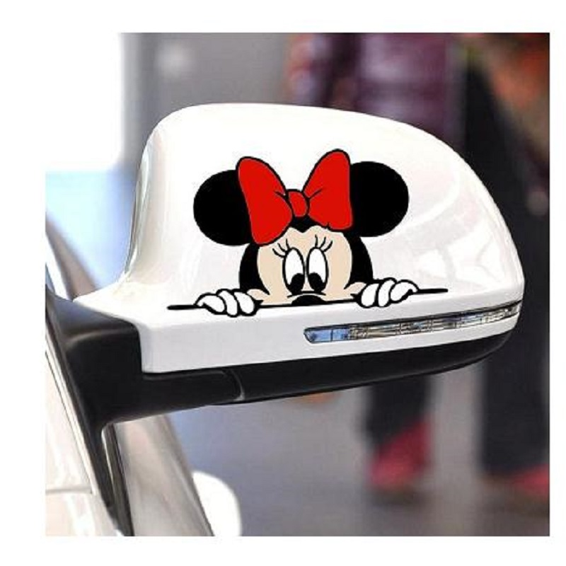 Funny Car Sticker Cute Mickey Minnie Mouse Peeping Cover Scratches Cartoon Rearview Mirror Decal For Motorcycle Vw Ford