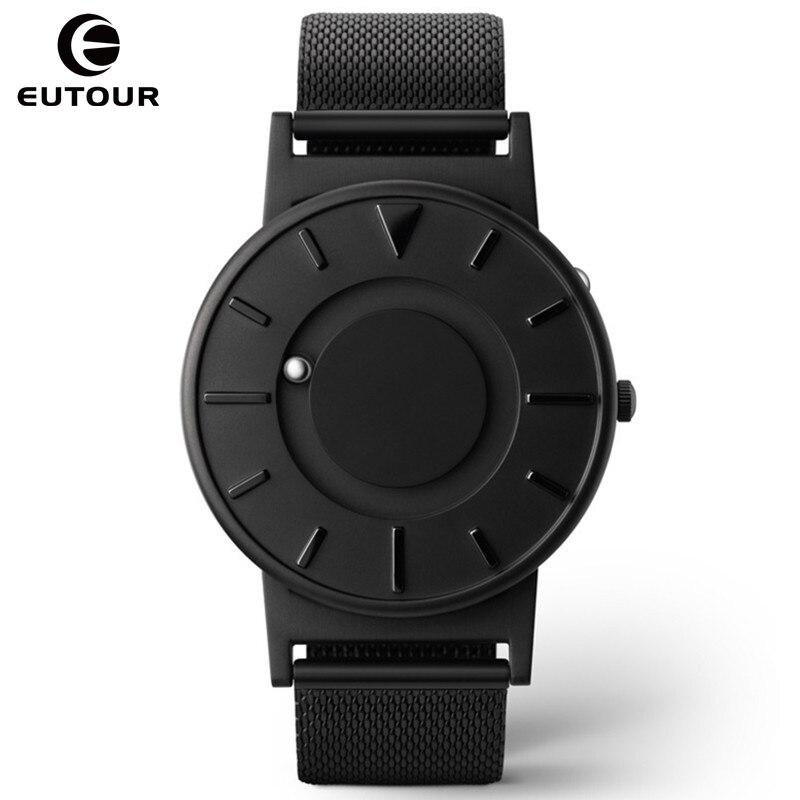 Homens novo Estilo do Relógio EUTOUR Magnética Bola Show de Inovar Canvas Strap Relógio de Quartzo de Aço Inoxidável Relógios de Pulso Homem saat erkek