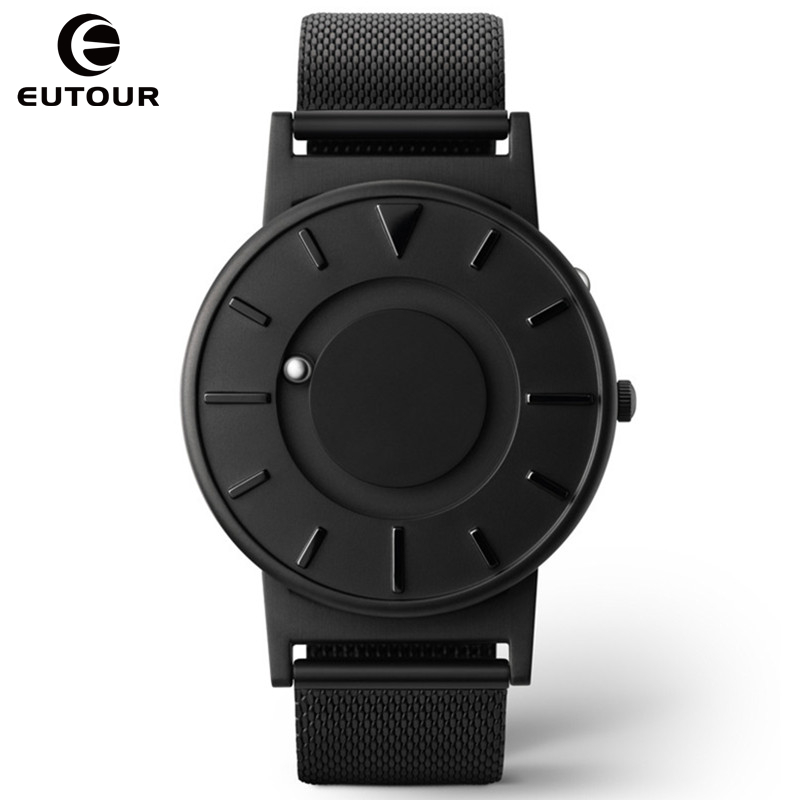 Nuevo estilo de los hombres ver EUTOUR bola magnética mostrar innovar relojes de acero inoxidable correa de lona reloj de cuarzo hombre erkek saat