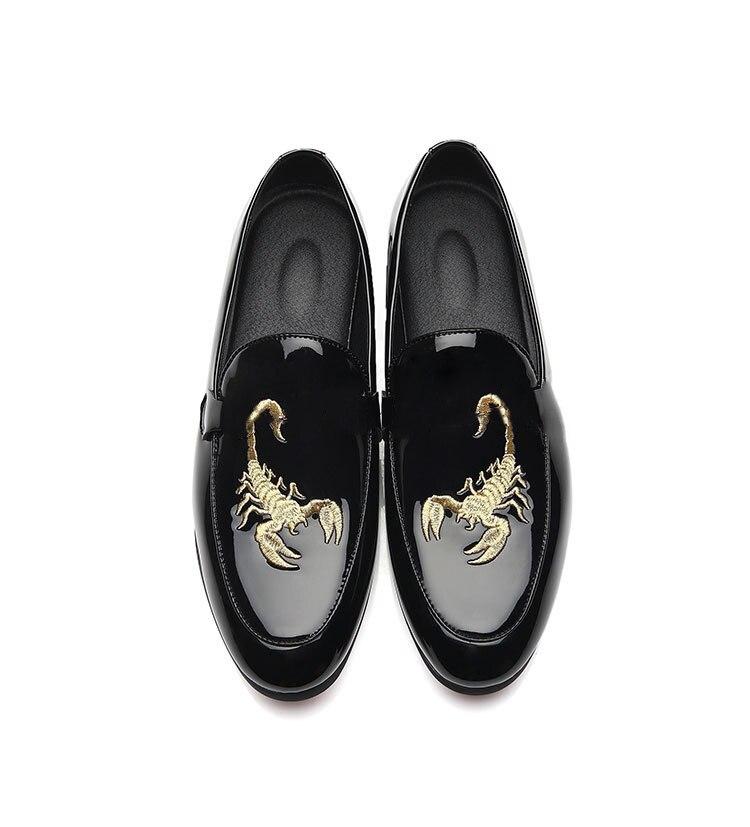 Mariage Impression Cuir Mocassins Lumineux En anxiu M Scorpion Hommes Plat Design Pointu D'affaires Nouveau Bout De Black Chaussures 60xIqFw