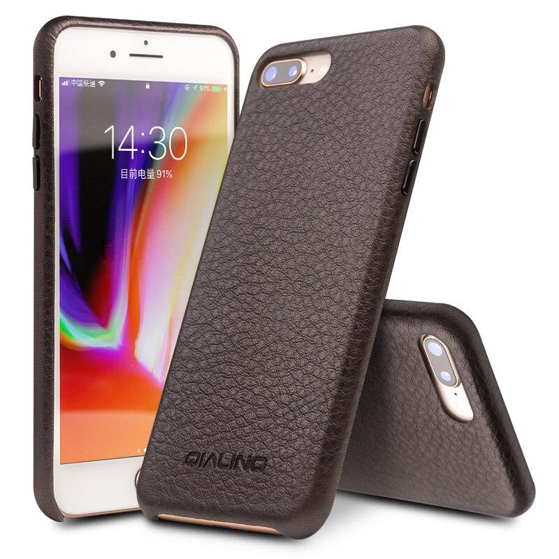 QIALINO Luxury Business style Étui En Cuir Véritable pour iPhone7 7 plus la Main Ultra Mince Couverture De Mode pour iPhone 8 plus