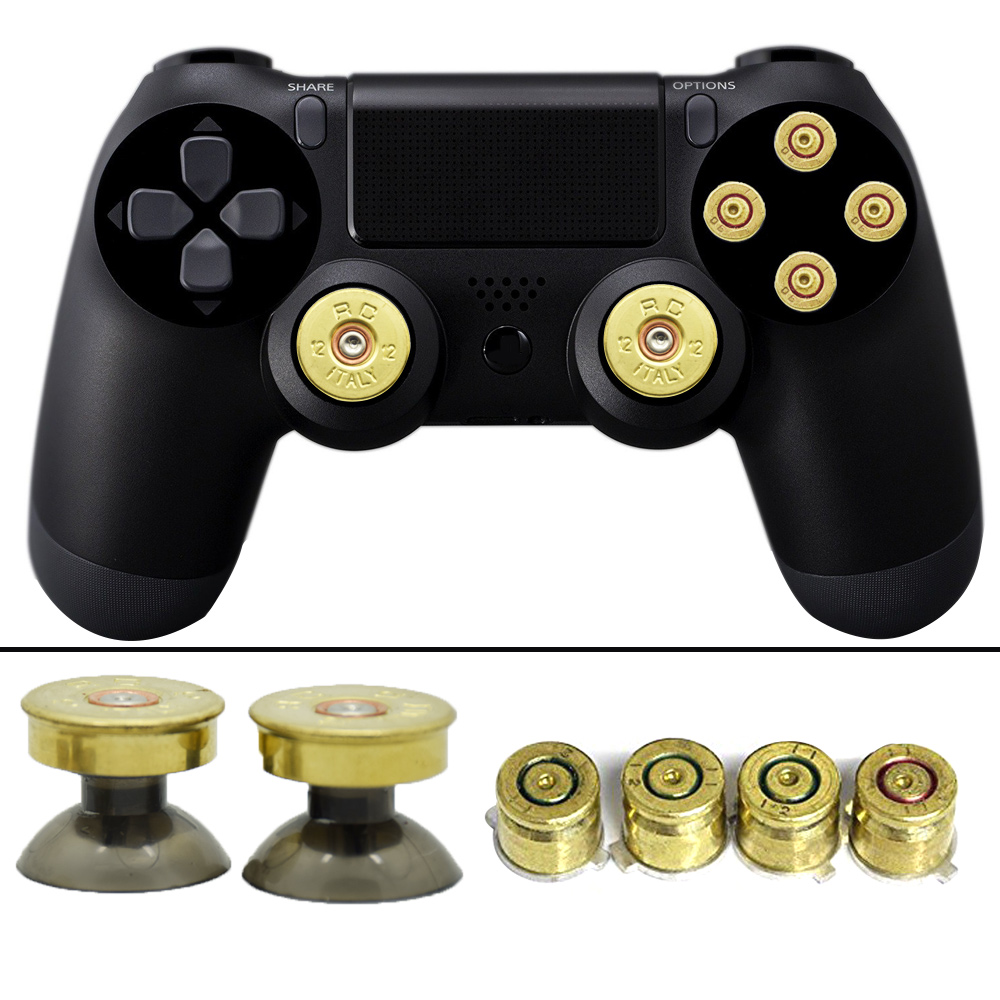 New Gold Thumbsticks Bullet Buttons and Bullet ABXY Buttons Set For DualShock 4 Wireless Controller PS4 Controller
