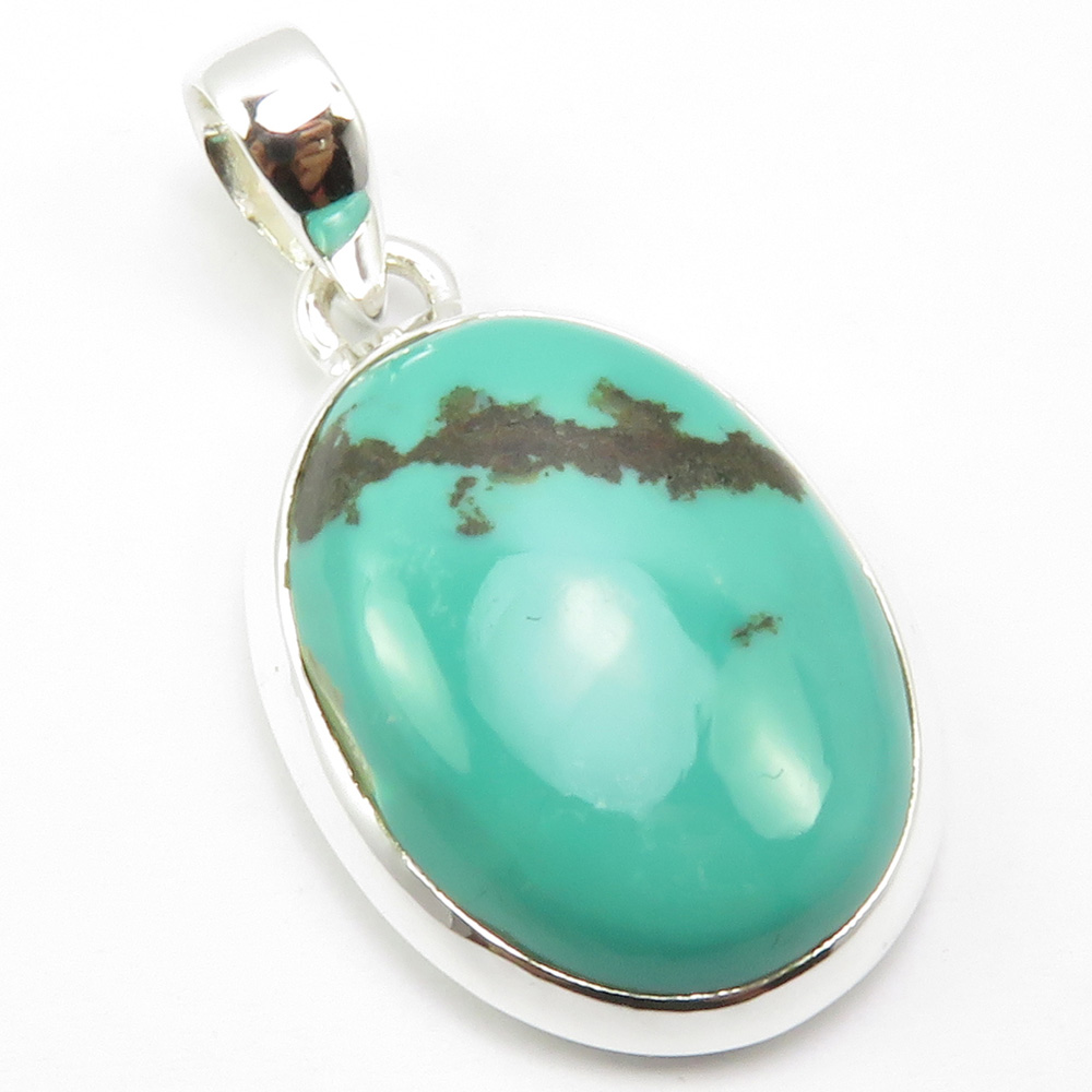 India Unique Designed Oval Turquoises Necklace Pendant 1.5 5.9 Grams  Pure  Silver