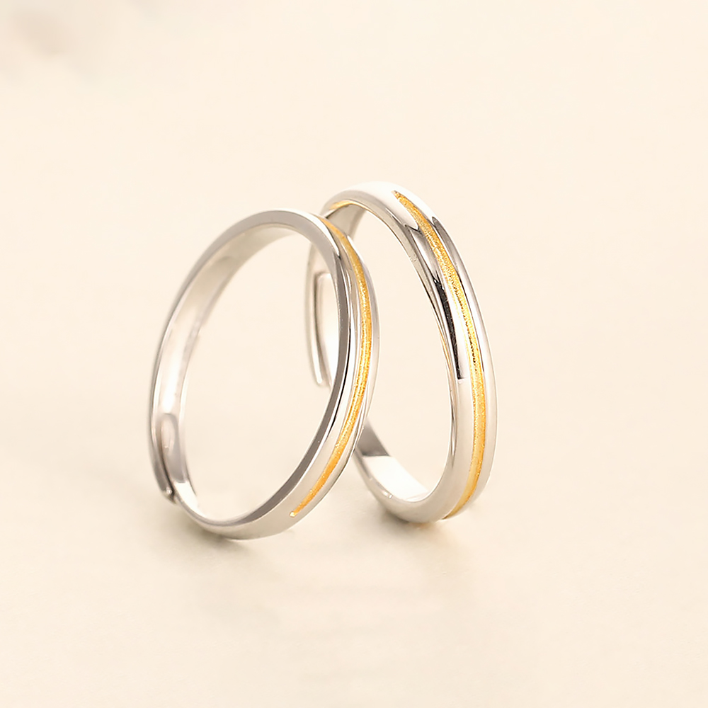 Trendy Minimalism Gold Sunshine Loves Rings Open Cuff Wedding Band Rings Silver 925 Jewelry Fine Mens Engagement Ring for Women in Engagement Rings from Jewelry Accessories