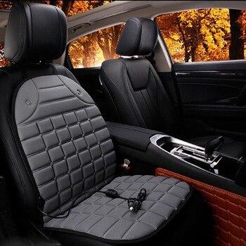 Coussin de siège de voiture chauffant électrique coussin de siège de voiture d'hiver housses de siège chauffant de voiture fournitures universelles jointes noir gris