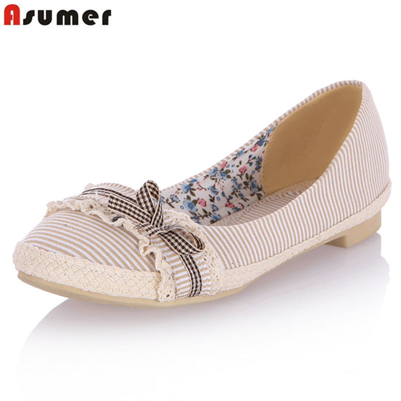 ASUMER Plus size 34-44 new women flats women Loafers round toe solid color summer flats sweet bowtie  flat shoes woman plus size 34 41 black khaki lace bow flats shoes for womens ds219 fashion round toe bowtie sweet spring summer fall flats shoes