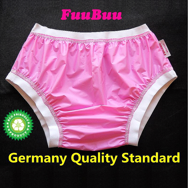 Free Shipping FUUBUU2207-Pink-XXL-1PCS ABDL Wide elastic pants adult diapers non disposable diaper plastic diaper pants image