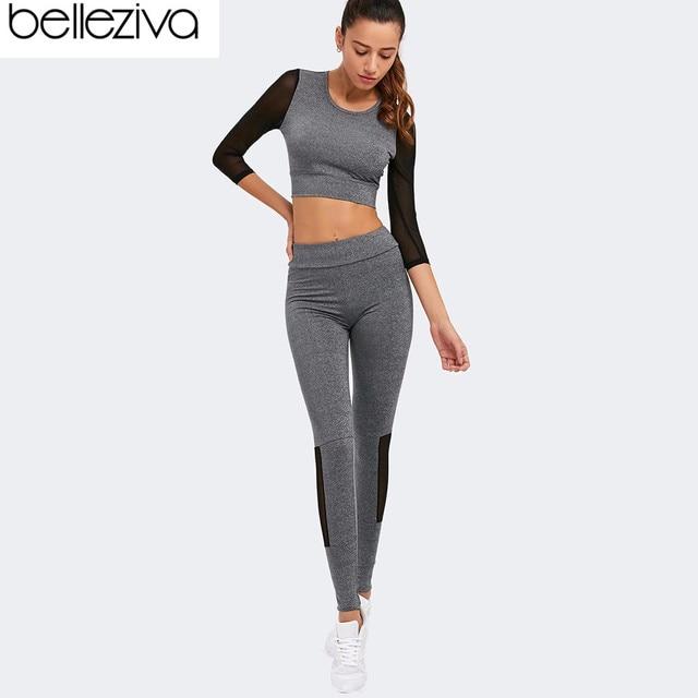 Belleziva Nouvelles Femmes Ensembles de Yoga Remise En Forme Sport Costumes  Manches Longues Yoga Running Shirt 507990bc4fc