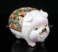Винтаж Стиль большой свинья металлический навесной брелок Pill Box Свинья эмалированные шкатулка Милая Собака копилка Свинья Копилка для моне