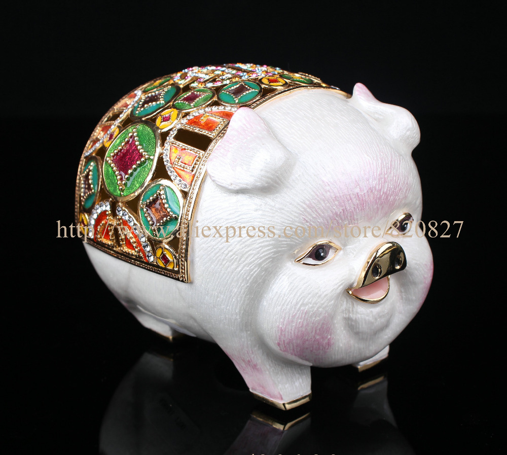 Vintage Style Big Pig Metal Hinged Trinket Pill Box Pig Enameled Trinket Box Cute Dog Piggy Bank Pig Money Box for Coins & Cash набор мебели 1toy красотка гламур спальня т54507