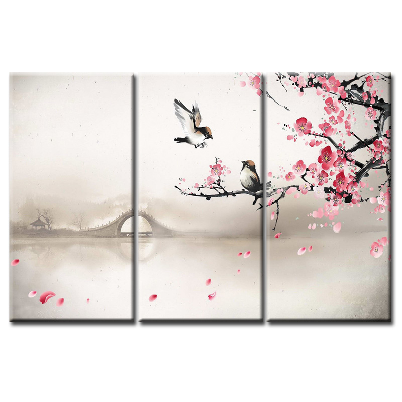 Wholesale Birds and flowers Printings Paintings Wall Art Home Decoration framed Canvas Oil Painting For Living Room in Painting Calligraphy from Home Garden