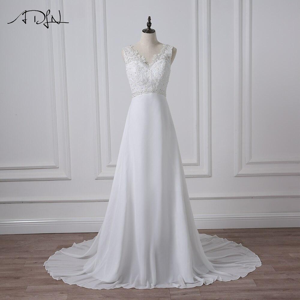 ADLN Cheap V neck White Ivory Wedding Dresses Zipper Back Bridal Gowns Plus Size Vestido De
