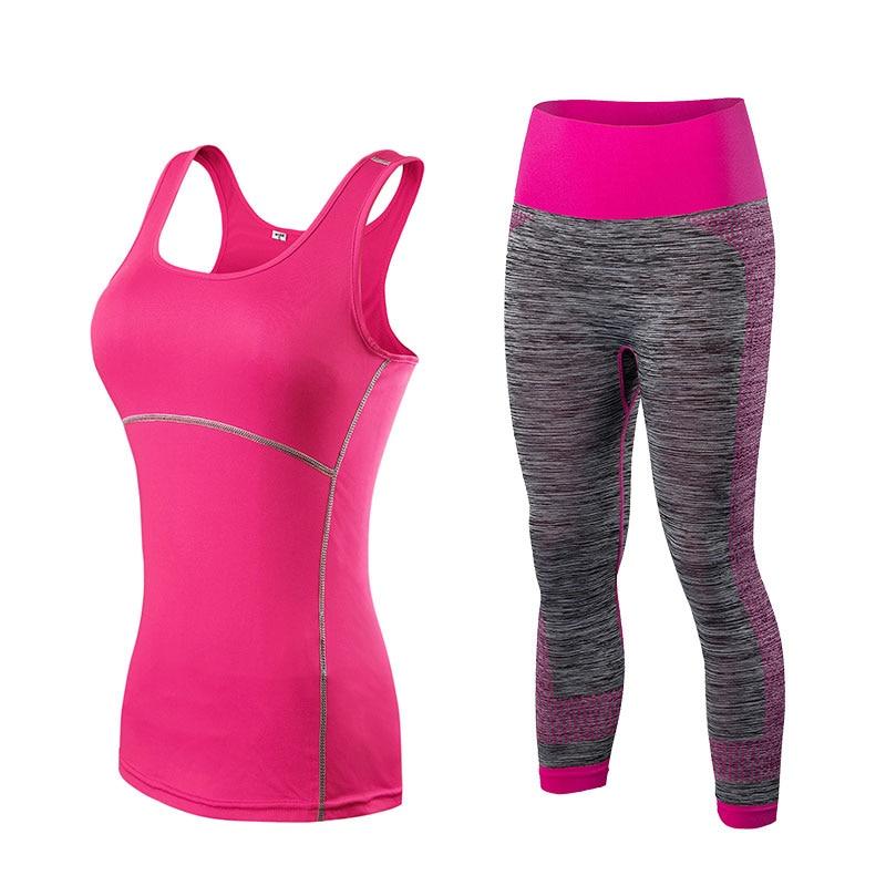 Ladies Sports Cropped Top Leggings Yoga Gym Set 4