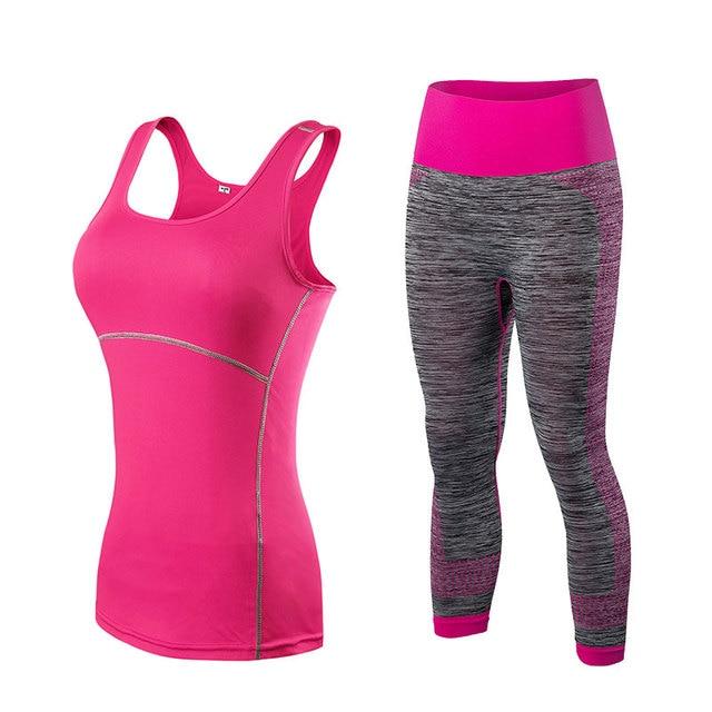 Ladies Matching Gym Set 3/4 Leggings And Vest 6