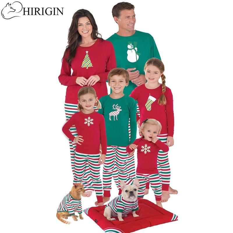 HIRIGIN 2017 Family Christmas Moose Pajamas Hot Sale High Quality Cotton Christmas Pajamas Family Look Nightwear Clothing Sets