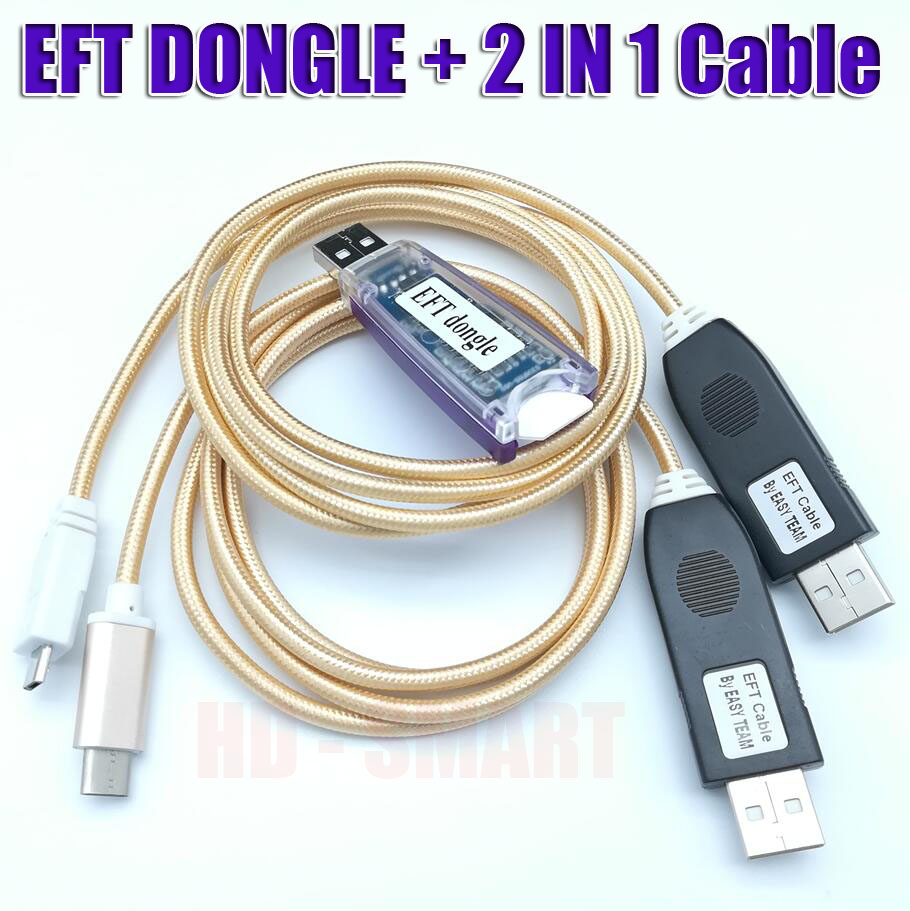 100% Original EASY FIRMWARE TEMA / EFT DONGLE And EFT Dongle  Serial 2 IN 1 Cable Free Shipping