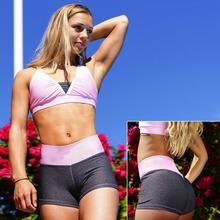 New Sport Shorts For Women High Waist Elastic Yoga Shorts Printed Quick Dry Short Femme Sexy Gym Shorts Women Fitness Clothing цена