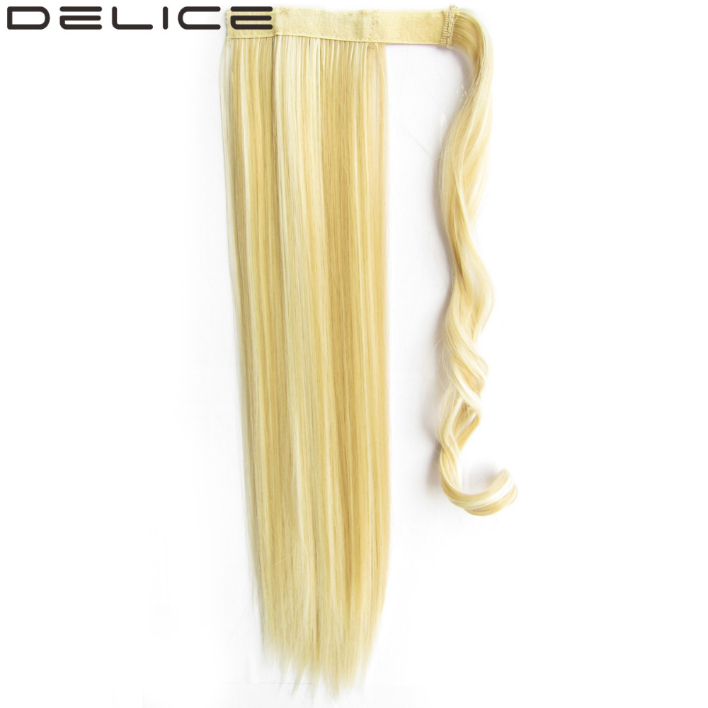 DELICE 22inch Women s Long Straight Clip In Synthetic Hair Ponytails Magic Tape Wrap On