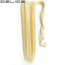 [DELICE] 22 inch женская Длинные Прямые Клип В Синтетических Волос Хвостики Волшебная Лента Wrap 90 г/шт.