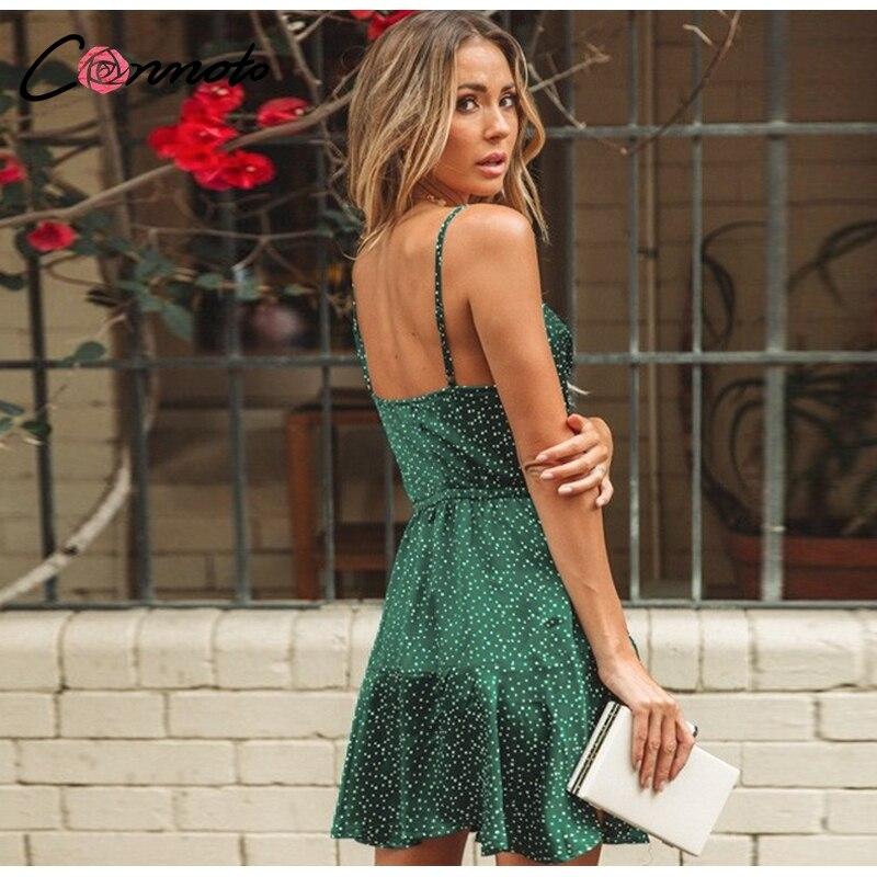Conmoto 19 Summer Fashion Strap Backless Stain Short Dress Women Casual High Street Polka Dot Dress Beach Holiday Vestidos 7