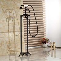 Black Oil Rubbed Bronze Bath Freestanding Tub Shower Set Phone Handle Filler Faucet Dual Handle