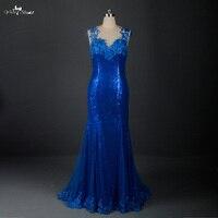 RSE632 Sexy Backless Royal Blue Dài Sequin Evening Dress Mermaid Đảng Dresses