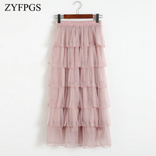 ZYFPGS 2019 Short Skirt Wave Decoration Design Solid Fashion Casual Female Pleated Autumn Ladies Lace Princess Z0928