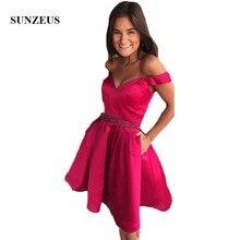 1fe73f78fd Fuchsia Satin krótki Homecoming sukienki dla dziewczynek Sweetheart Off na  ramię zroszony śliczne Graduation suknie vestido