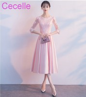 Pink Lace Satin Short Modest Bridesmaid Dresses With 3 4 Sleeves A Line Tea Length Country