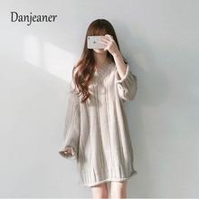 Danjeaner Korea Retro V-neck Vertical Long Sleeve Pullovers Women Autumn Winter Loose Knitting Sweater Dress Jumpers