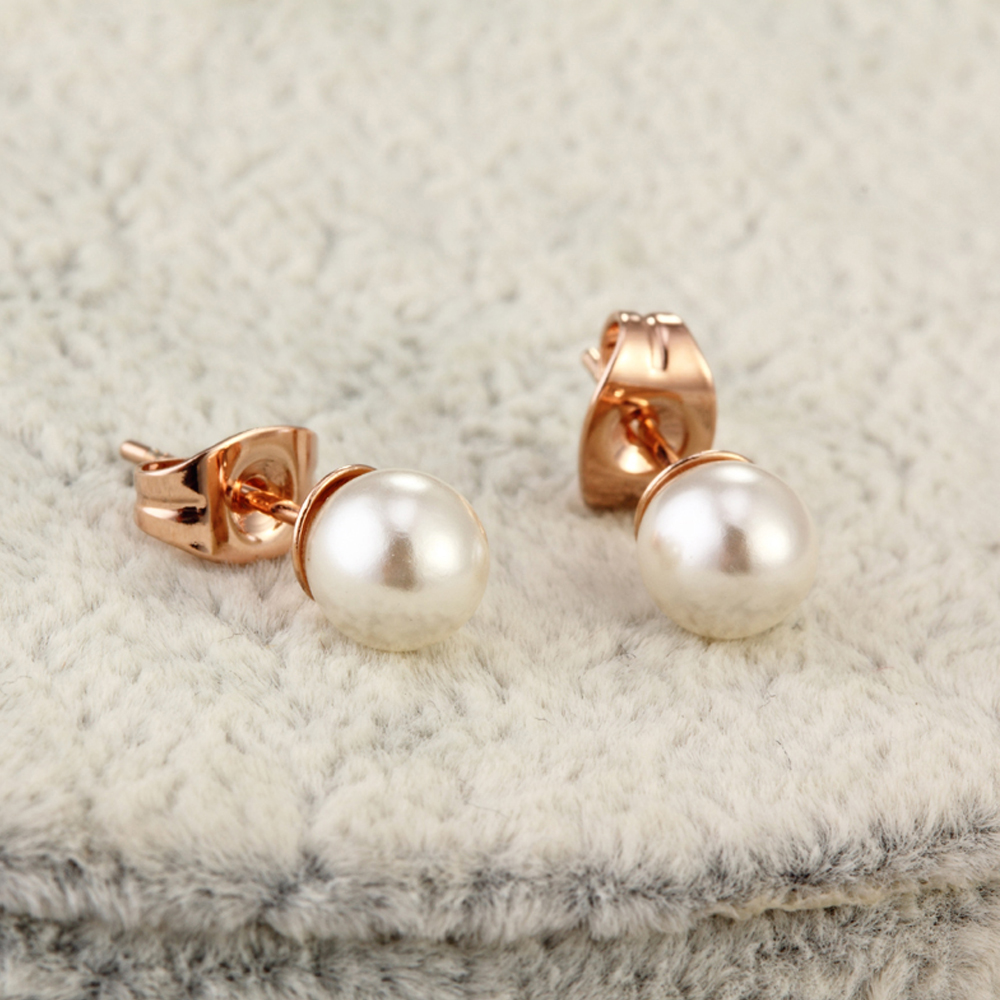 OUXI pearl imitated earrings for women new trendy white/rose gold Stud Earrings Fashion women jewelry anti-allergy