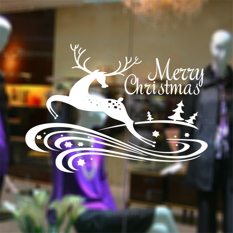 christmas decoration store showcase glass sticker cute christmas sika deer design removable carved decals window wall stickers - Christmas Decals For Glass