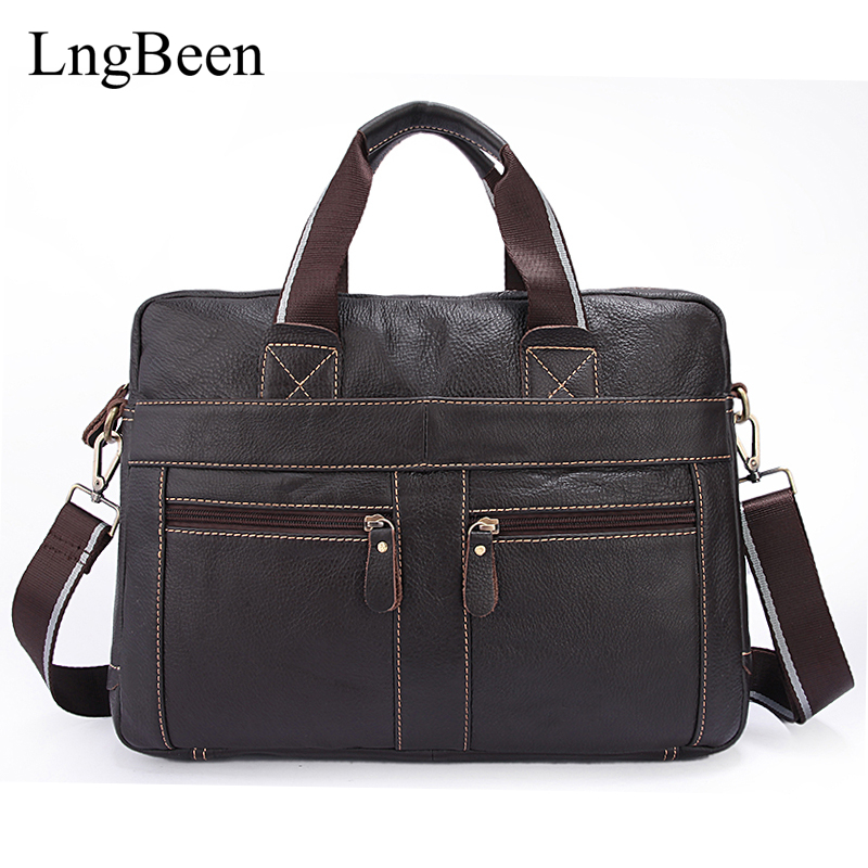 NEW Genuine Leather Coffee Men Briefcase 14 inch Laptop Business Bag Cowhide Men's Messenger Bags Luxury Lawyer Handbags LB312 цена и фото