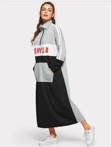Image 2 - Spring Cotton Dress Teenagers Students Sport Long Dress Muslim Women Young Girl Casual with Pockets Zipper Patchwork Dress 968