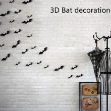 12 Pieces Black Attractive 3D Bat Sticker Removable Wall Sticker High Quality Halloween Festival DIY Sticker Home Decoration