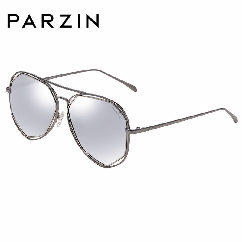 PARZIN Fashion Big Alloy Frame Pilot Sunglasses For Women Hexagon Sunglasses Polarized Traveling For Driving Lady Accessories