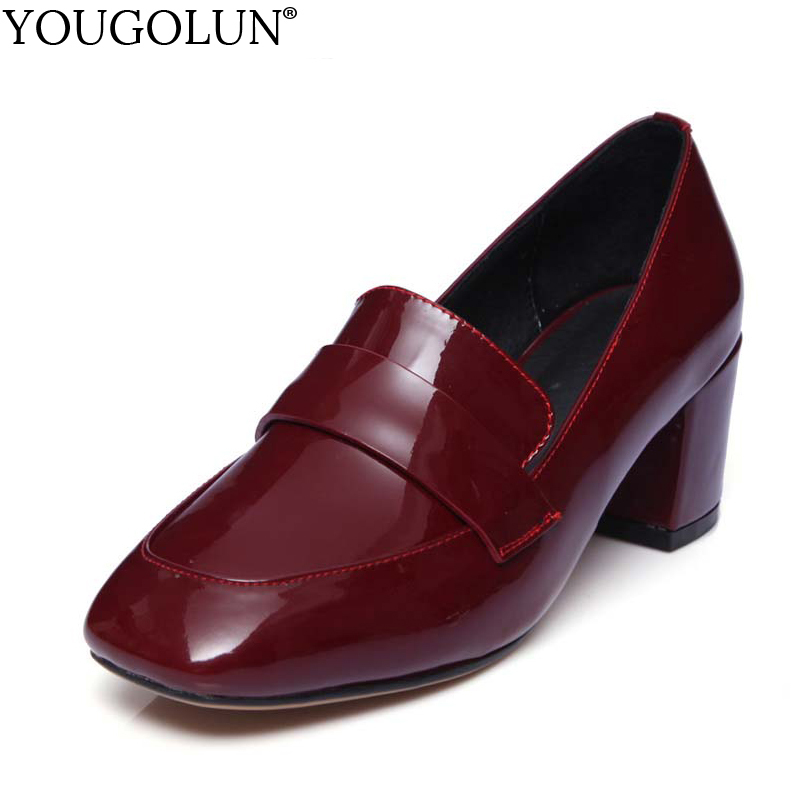 YOUGOLUN Women Pumps Genuine Patent Leather Spring Thick Heel 6 cm High Heels Black Burgundy Pig Leather Square Toe Shoes #A-006 women chic champagne patent leather sandals square thick high heels pumps covered heel single strap gladiator shoes golden pumps