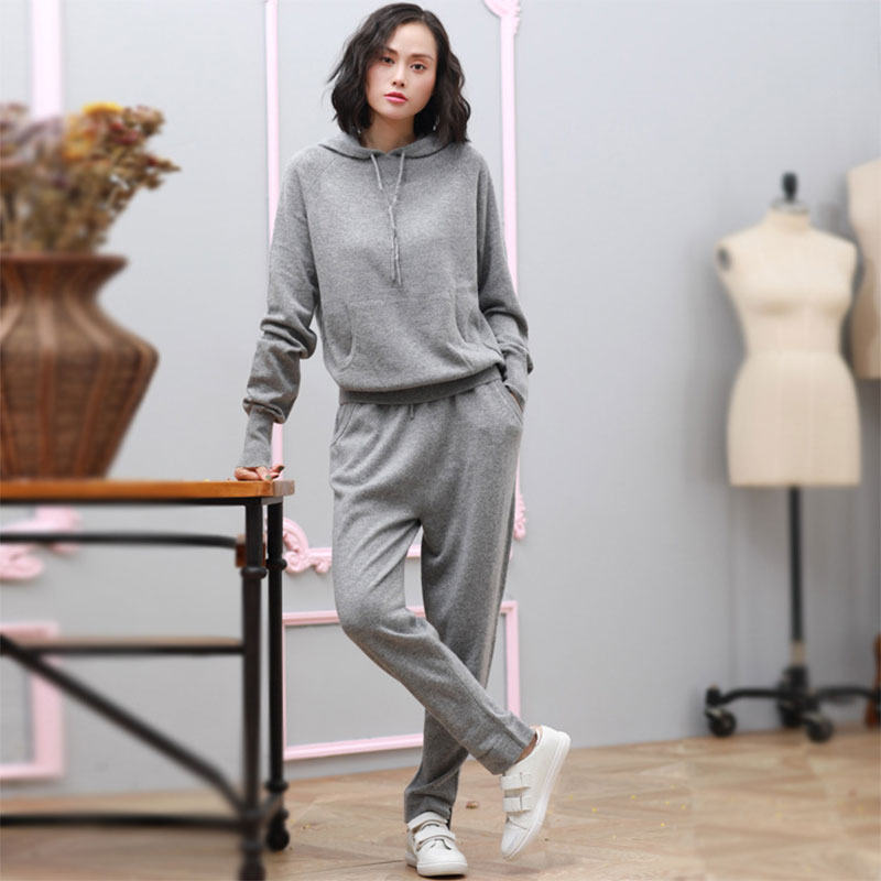 Women Two Piece Outfits 2018 New 100 Pure Cashmere Woman Tracksuit 2 Pieces Sweater Sets Autumn