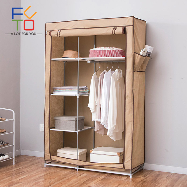 Closet Organizer Wardrobe Portable Shelves Non Woven Fabric Storage Folding Hanging Rod Steel Frame