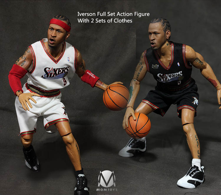 1/6 Scale Basketball Star Iverson Full Set Action Figure & 2 Sets of Sport Clothes In Stock iverson basketball shoes male adolescents spring low help iverson war boots light wear antiskid sports shoes