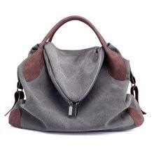 купить Casual Canvas Women's Handbags Vintage Shoulder Crossbody Bags Big Size Women Tote Bags Women's Messenger Bag онлайн