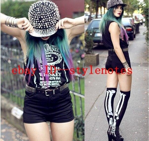 Cool 2013 Fashion Womens Hip Hop Hippie Punk Rock All Over Rivets Spikes Baseball Cap Hat Black